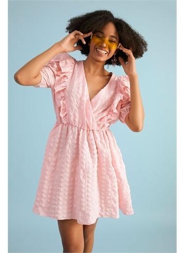 Z Giyim Kadın  Pembe  Kruvaze Balon Kol Mini Elbise Pembe